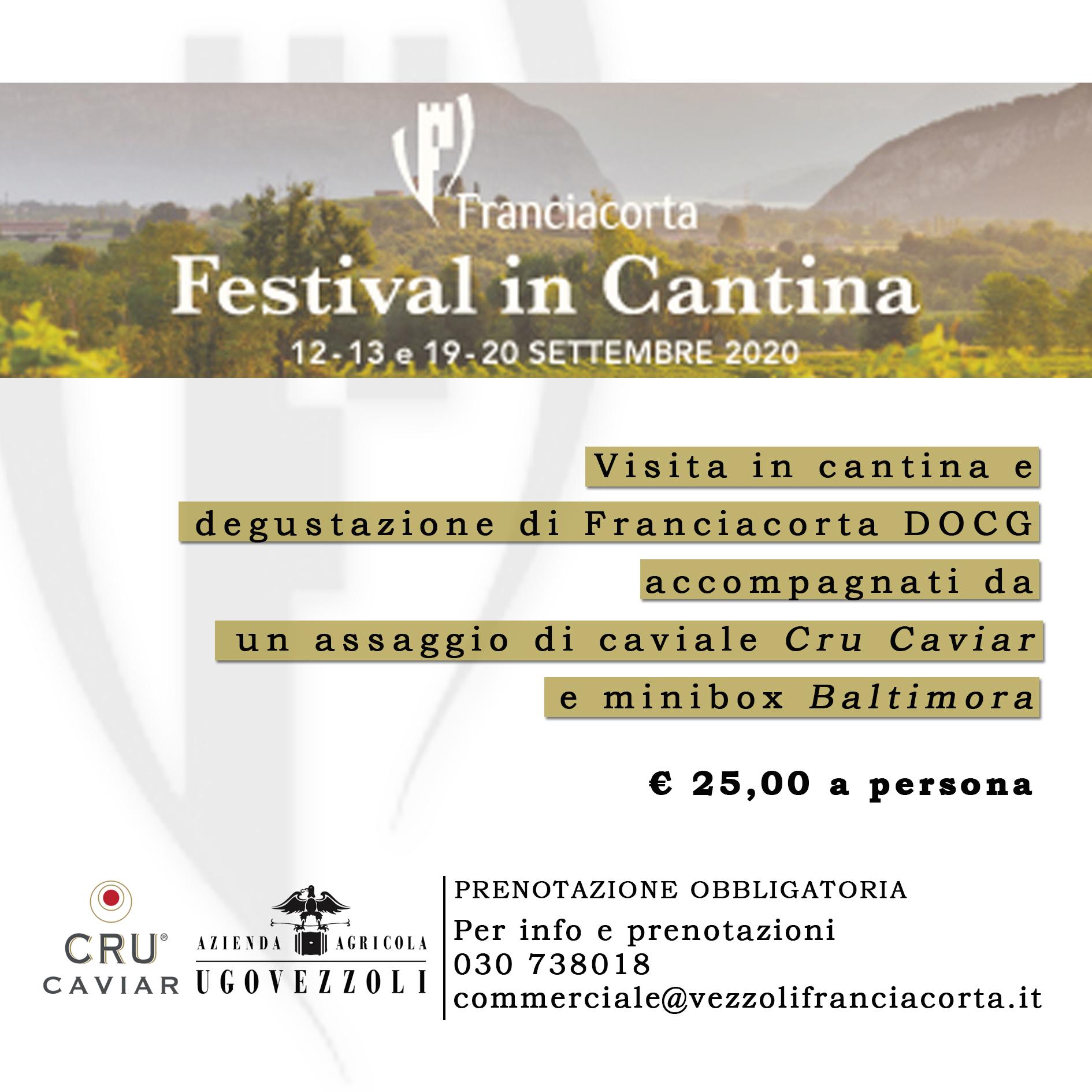 Degustazione Franciacorta e Cru Caviar Festival in Cantina Settembre 2020